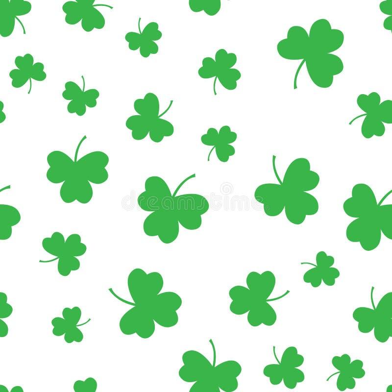 Bezszwowego zielonego shamrock liścia wzoru koniczynowy tło ?wi?tego Patrick ` s dzie? Abstrakcjonistyczny i Nowo?ytny poj?cie Ge royalty ilustracja