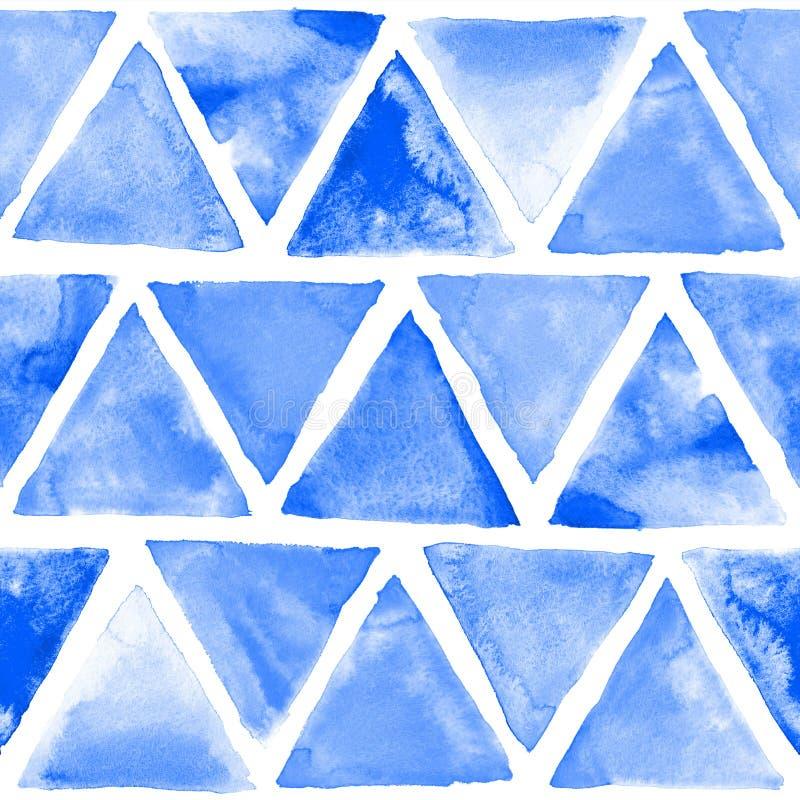 Bezszwowej abstrakcjonistycznej akwareli retro trójgraniasty tło obraz royalty free