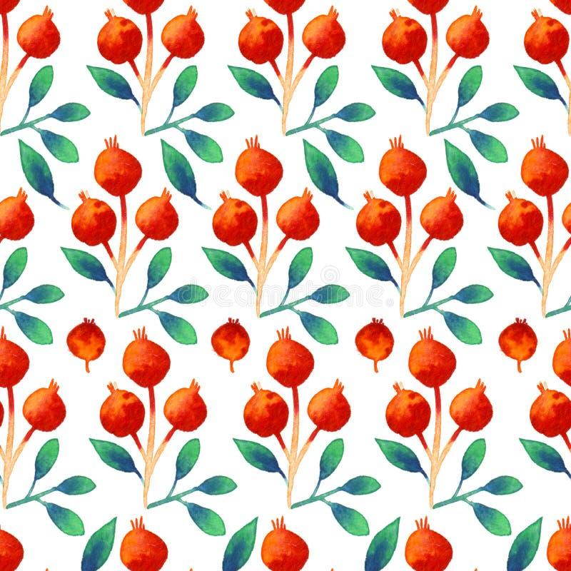 Bezszwowej akwareli botaniczny wzór z pomarańczowymi jagodami i liśćmi ilustracja wektor