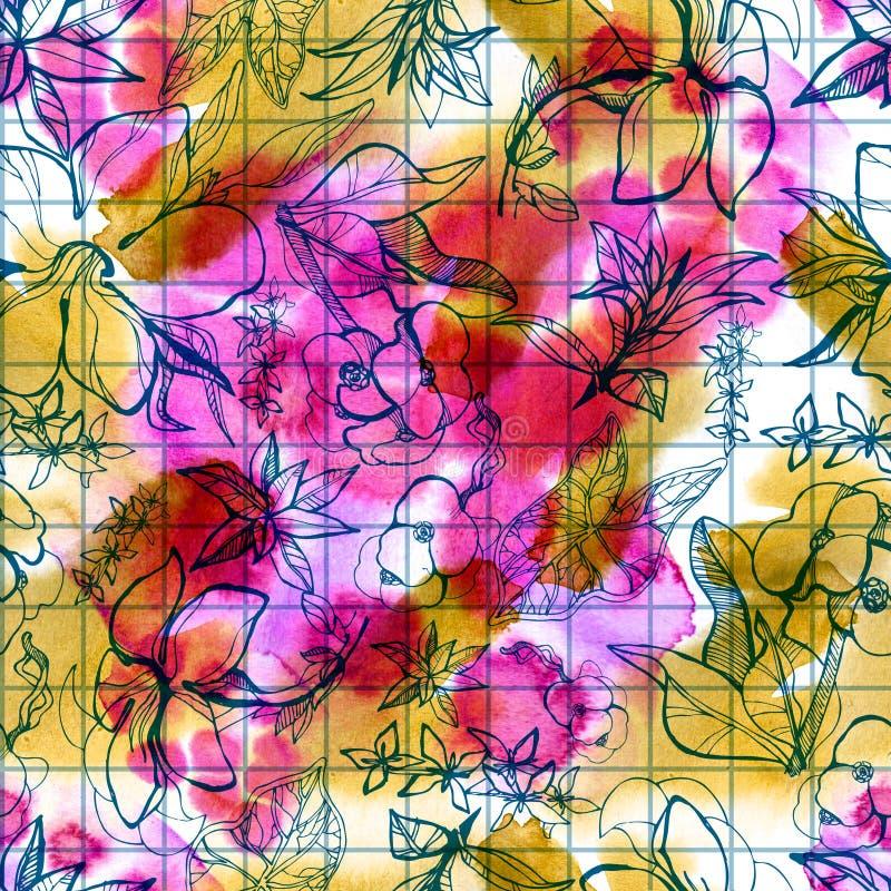 Bezszwowej akwareli kwiecisty wzór royalty ilustracja