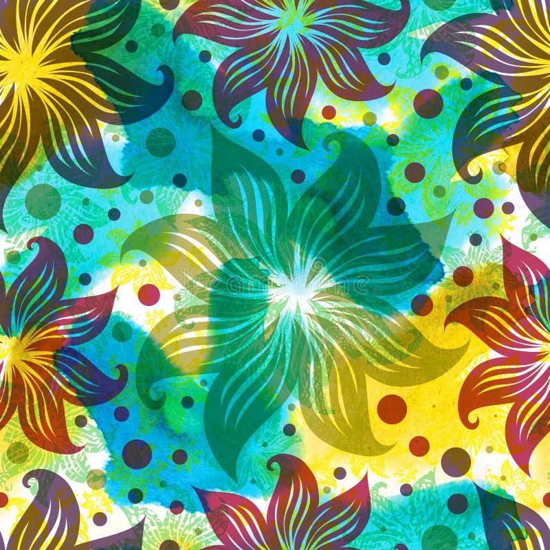 Bezszwowej akwareli kwiecisty wzór ilustracja wektor