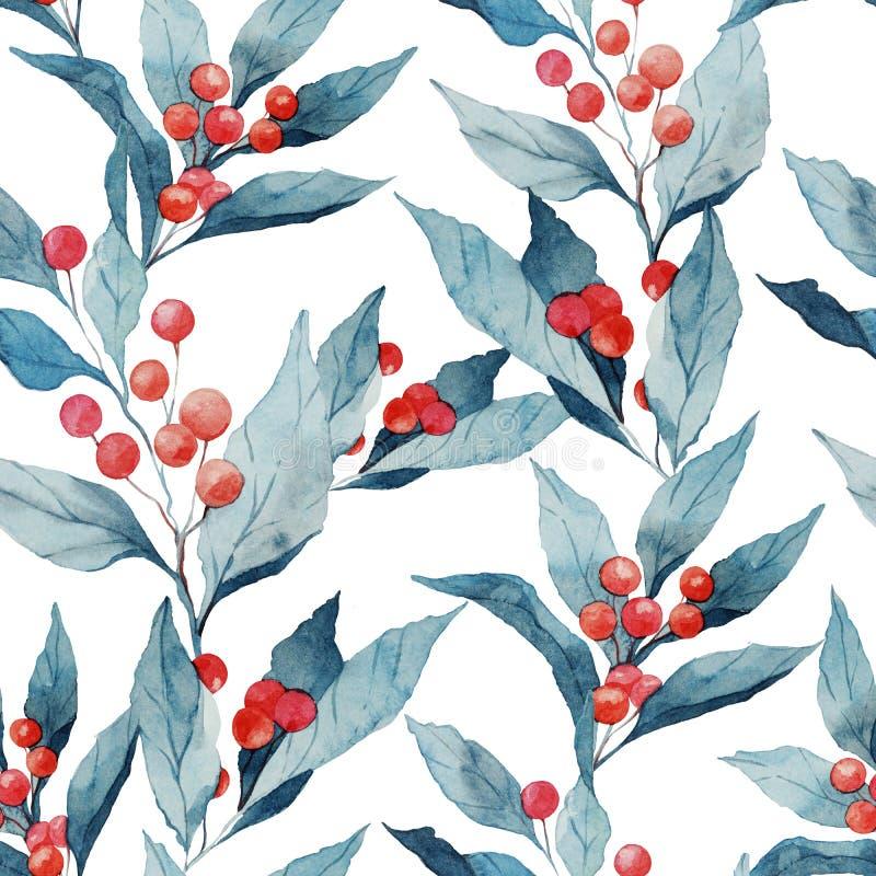 Bezszwowej akwareli realistyczny wzór z holly jagodami i liśćmi ilustracji