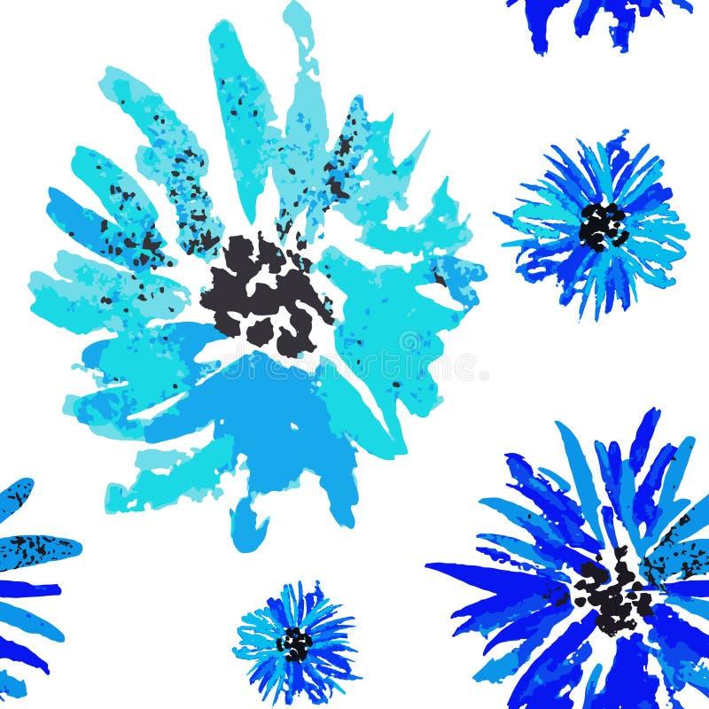 Bezszwowej błękitnej akwareli chabrowy kwiecisty wzór royalty ilustracja
