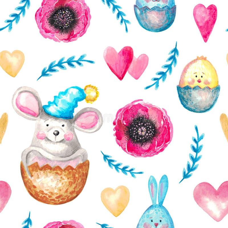 Bezszwowej deseniowej akwareli Botaniczni elementy kwitną liść gałąź rośliien zwierząt myszy królika kurczaka śliczną rękę malują ilustracja wektor