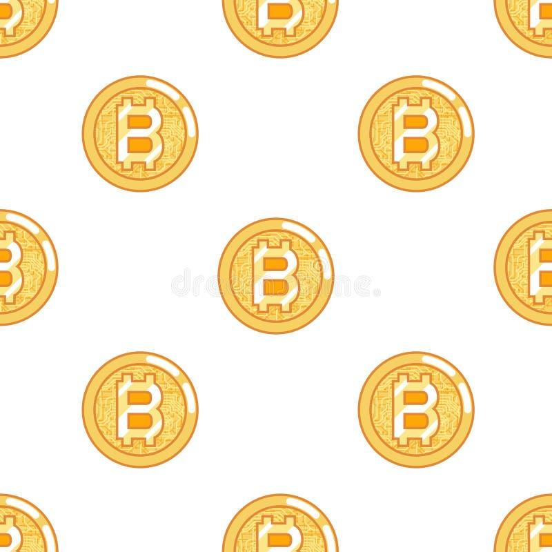 Bezszwowej deseniowej bitcoin monety technologii pieniądze interneta cyfrowej waluty projekta wektoru płaska ilustracja ilustracji