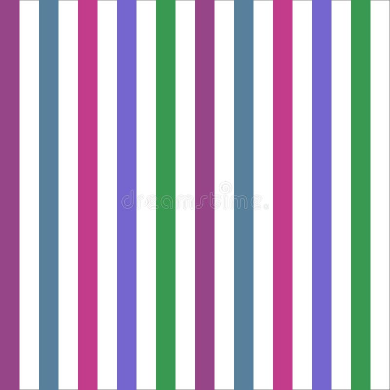 Bezszwowej deseniowej lampas zieleni brzmienia błękitni purpurowi kolory Vertical wzoru lampasa tła wektoru abstrakcjonistyczna i royalty ilustracja