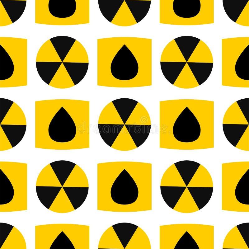Bezszwowej deseniowej tło jądrowej władzy znaka zanieczyszczenia wektorowej przemysłowej elektrycznej staci kominowy reaktorowy s ilustracja wektor