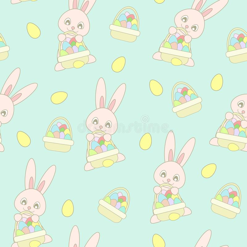Bezszwowej deseniowej witki śliczny różowy Wielkanocny królik z Easter koszem z jajkami ilustracja wektor