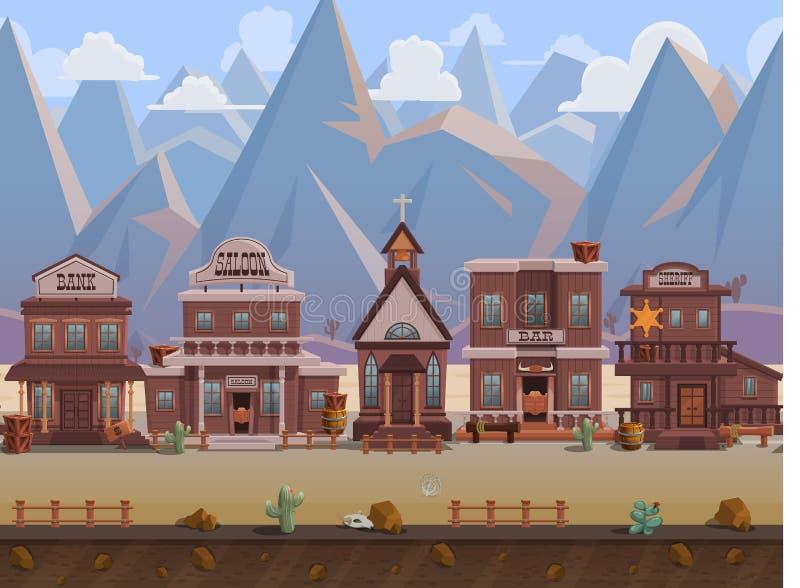 Bezszwowej kreskówki dziki zachodni miasteczko, westernu krajobraz, wektorowy bez końca tło z oddzielonymi warstwami ilustracji