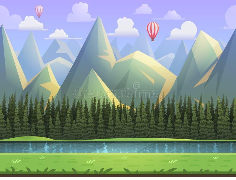 Bezszwowej kreskówki halny naturalny krajobraz, wektorowy bez końca tło z oddzielonymi warstwami ilustracja wektor