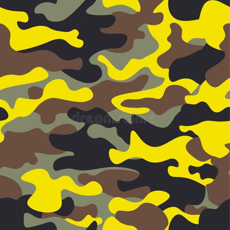 Bezszwowej mody szeroki las i koloru żółtego camo deseniujemy wektorową ilustrację dla twój projekta Klasyczny odzież styl ilustracja wektor