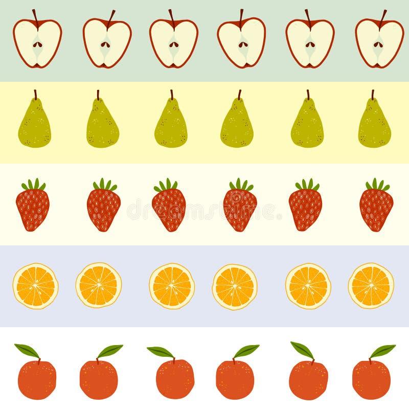 Bezszwowej powtórki fruity wzór z jabłkami, bonkretami, truskawkami i pomarańczami, ilustracji
