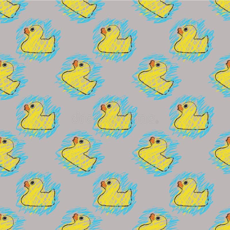 Bezszwowej powtórki kaczki nakreślenia kolorystyki Gumowa książka royalty ilustracja
