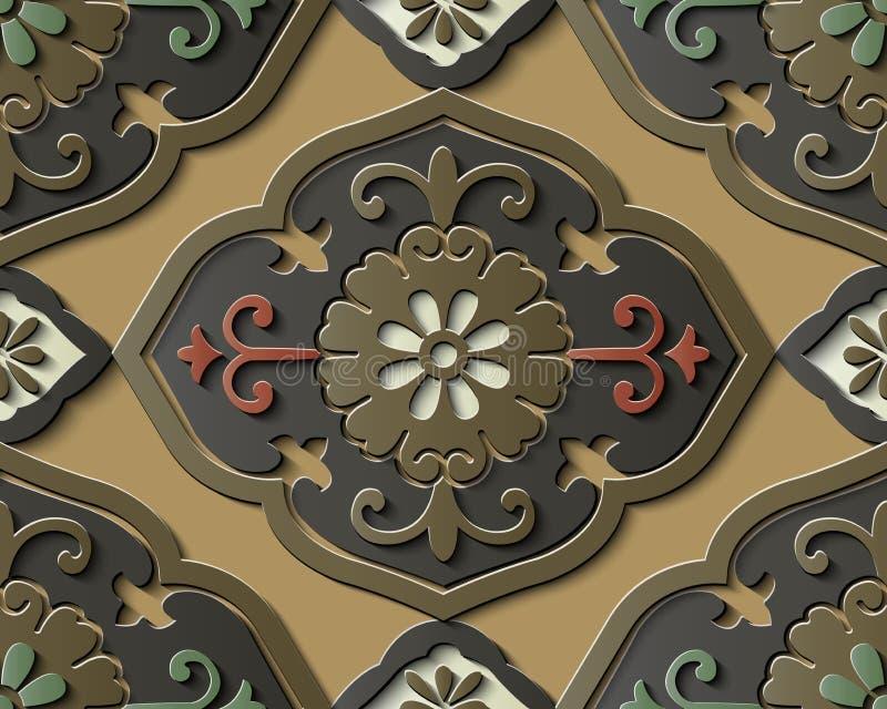 Bezszwowej reliefowej rzeźby dekoraci azjata retro deseniowa krzywa s ilustracja wektor
