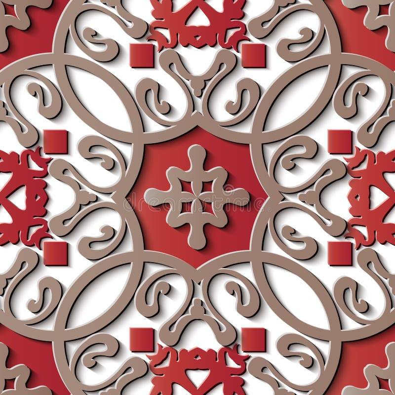 Bezszwowej reliefowej rzeźby dekoraci azjata retro deseniowa spirala ilustracji