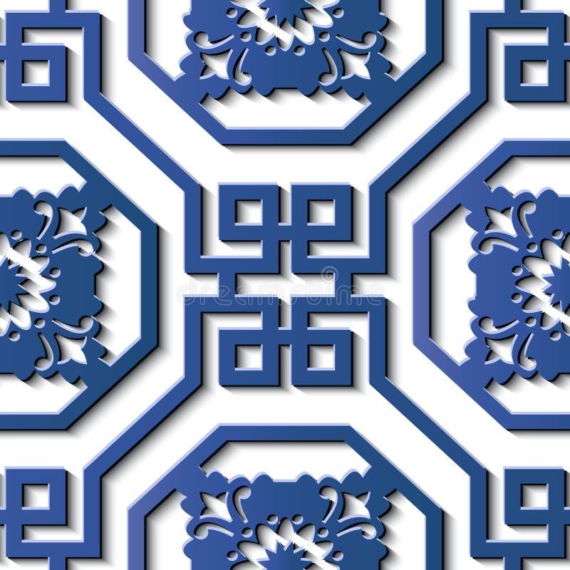 Bezszwowej reliefowej rzeźby dekoraci azjata retro deseniowa spirala royalty ilustracja