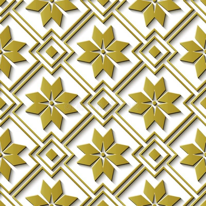 Bezszwowej reliefowej rzeźby dekoraci złota gwiazdy retro deseniowy che royalty ilustracja