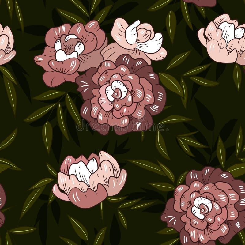 Bezszwowej rocznik wiosny purpurowej peoni kwiecisty wzór ilustracji