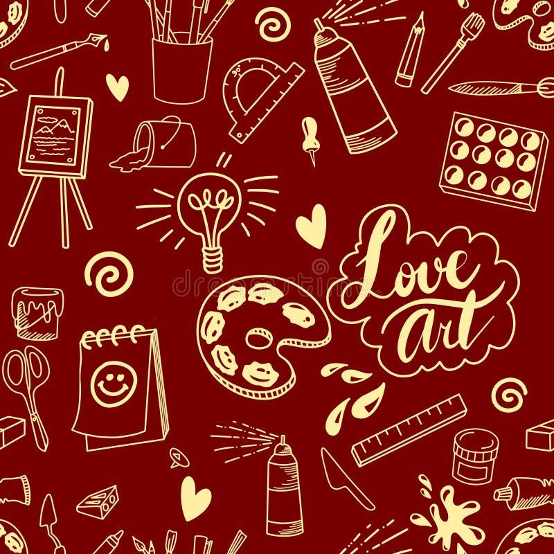 Bezszwowej sztuki dostawy artysty doodle tła ilustracyjny wzór w czerwieni i koloru żółtego kolorach ilustracji
