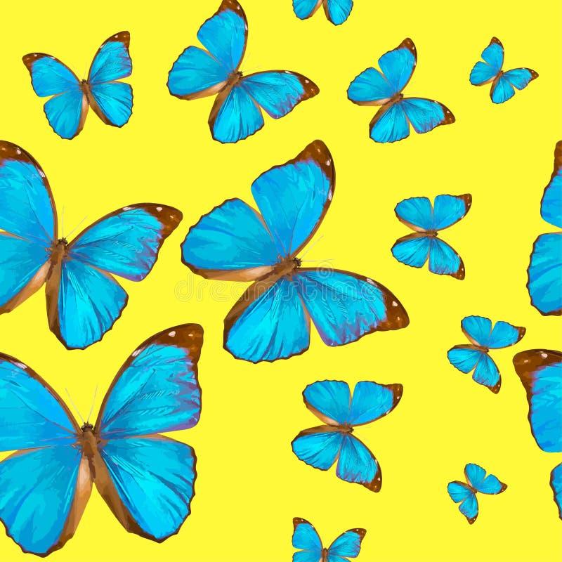 Bezszwowej tekstury butterflys Morpho tropikalny menelaus na żółtym tle ilustracji