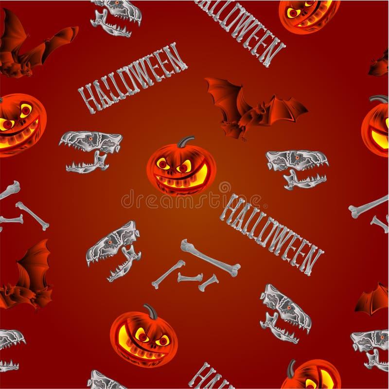 Bezszwowej tekstury Halloweenowe banie uderzają czaszki i kości wektorowych ilustracji