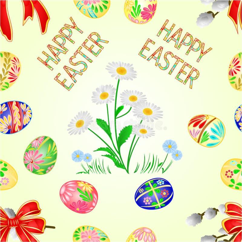 Bezszwowej tekstury Szczęśliwej Wielkanocnej dekoraci Wielkanocni jajka, stokrotka na i, Sezonowi wakacje w Kwietniu C royalty ilustracja