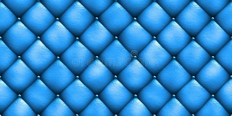Bezszwowej tekstury tapicerowania kanapy rzemienny błękit ilustracja 3 d ilustracja wektor