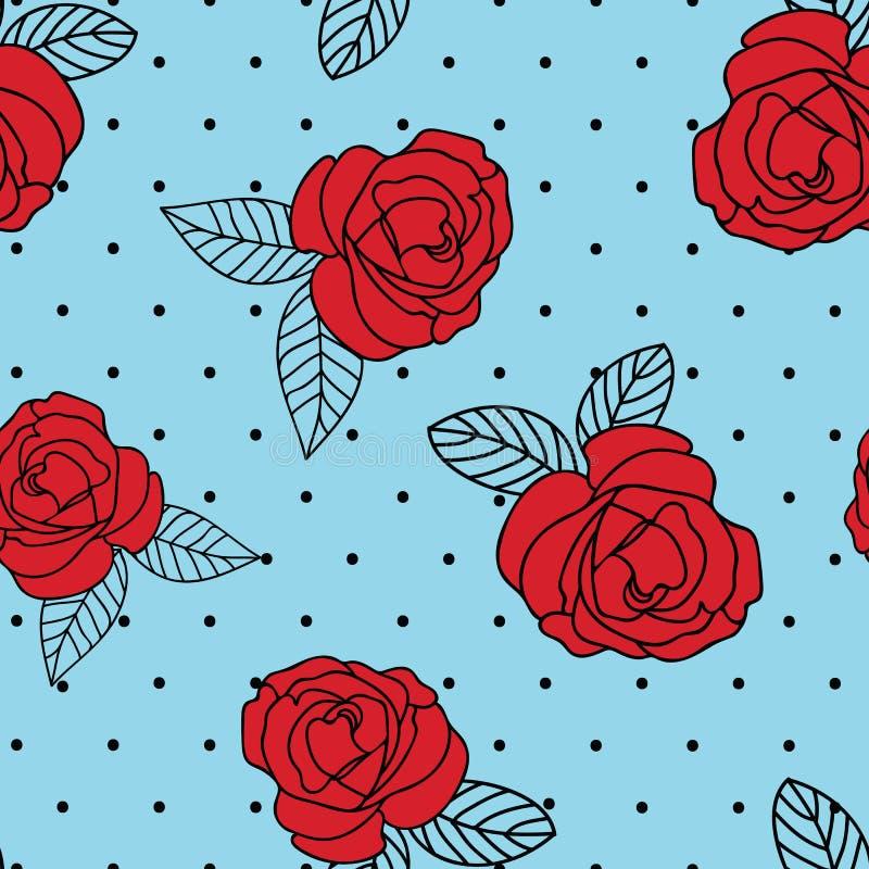 Bezszwowej wektorowej powtórki rocznika róży czerwony druk z czarną kropką błękitnym tłem i ilustracja wektor