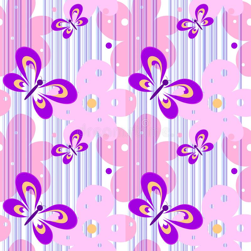 Bezszwowej wiosny kobiety jaskrawy ładny wzór z motylami i kwiatami dla projekta tkaniny, tapeta Biel z royalty ilustracja