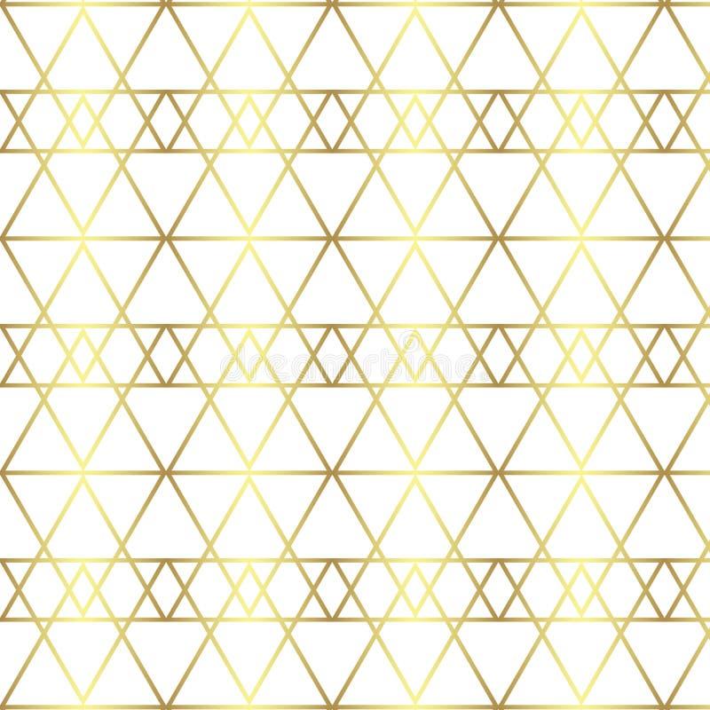 Bezszwowej złoto linii geometryczny wzór Tło z rhombus, trójbokami i guzkami, struktura złota royalty ilustracja