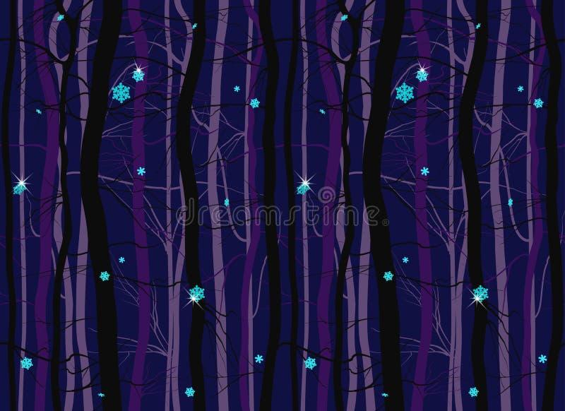 Bezszwowej zimy drewniany las rozgałęzia się noc wzór ilustracji