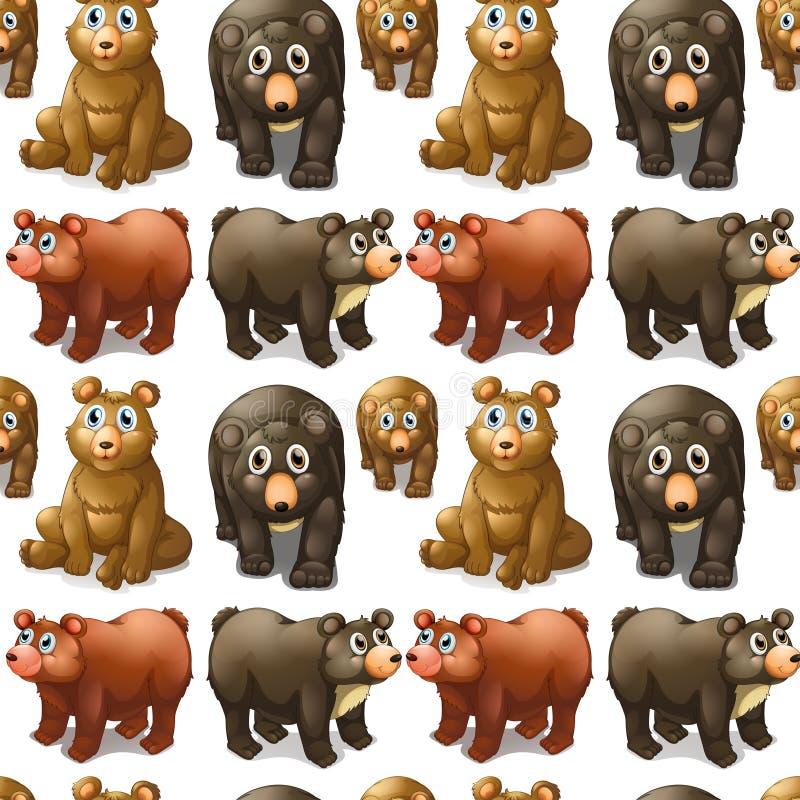 Bezszwowi śliczni niedźwiedzie i lisiątka ilustracja wektor