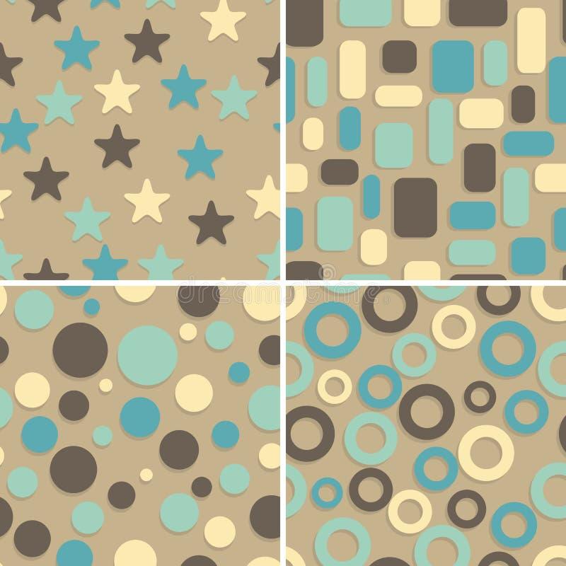 bezszwowi abstraktów wzory cztery ilustracja wektor