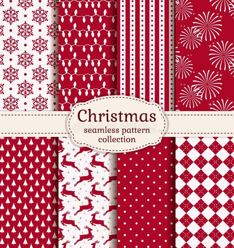 bezszwowi Boże Narodzenie wzory kreskówki serc biegunowy setu wektor royalty ilustracja