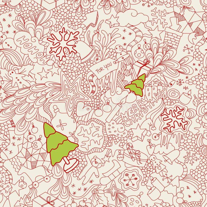 bezszwowi Bożych Narodzeń doodles ilustracja wektor