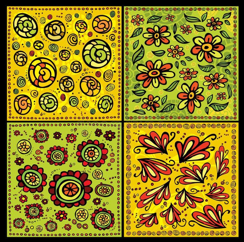Bezszwowi dekoracyjni kwieciści ślimacznica wektoru wzory ilustracji