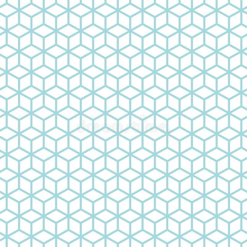 Bezszwowi Deseniowi Abstrakcjonistyczni sześciany Błękitni I Biali ilustracji