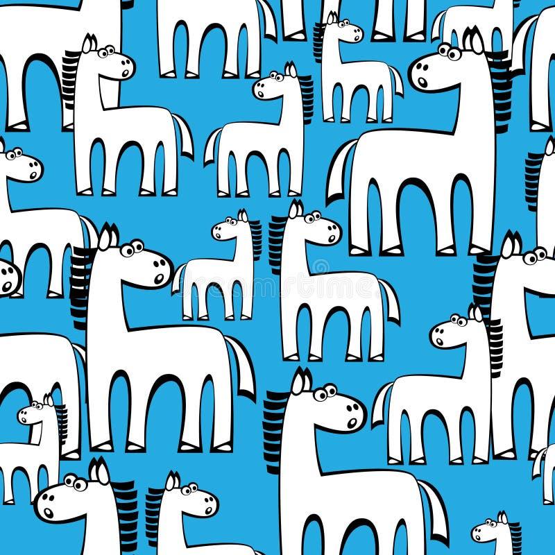 Bezszwowi deseniowi biali konie ilustracja wektor
