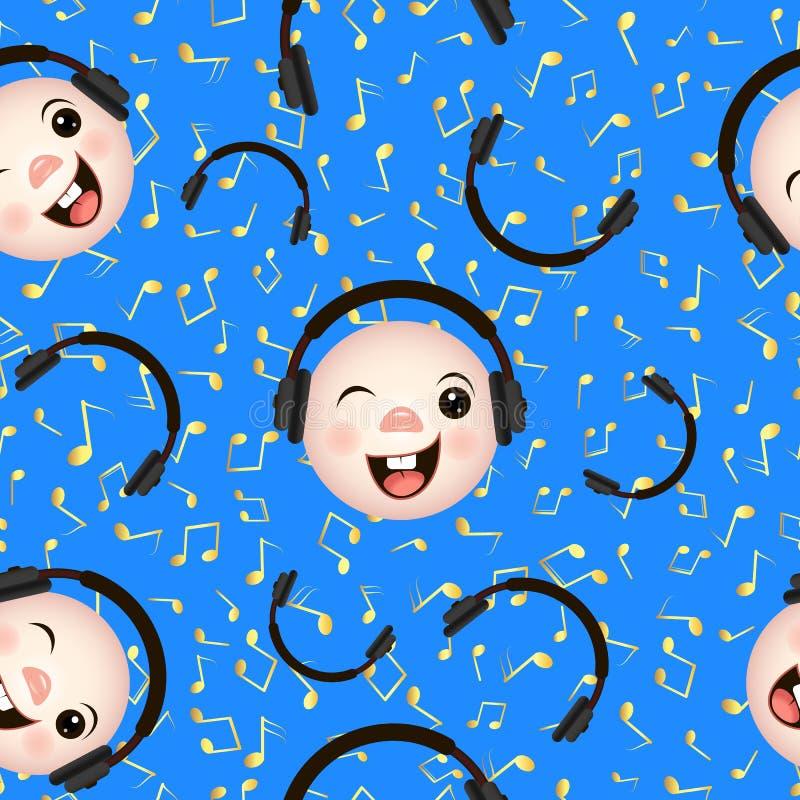 Bezszwowi deseniowi emoticons z hełmofonami ilustracji