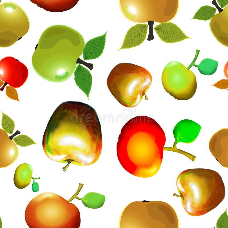 Bezszwowi deseniowi jabłka na białym tle royalty ilustracja