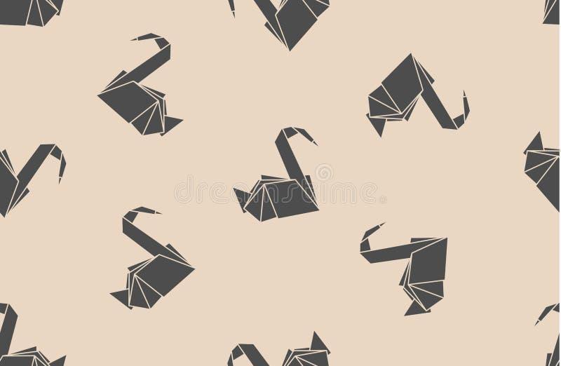 Bezszwowi deseniowi japońskiego papieru origami żurawie Może używać dla stron internetowych tło, nawierzchniowe tekstury, tło na  ilustracja wektor