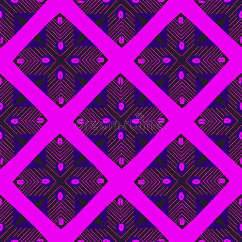 Bezszwowi deseniowi jaskrawi szkarłatni geometryczni kształty royalty ilustracja