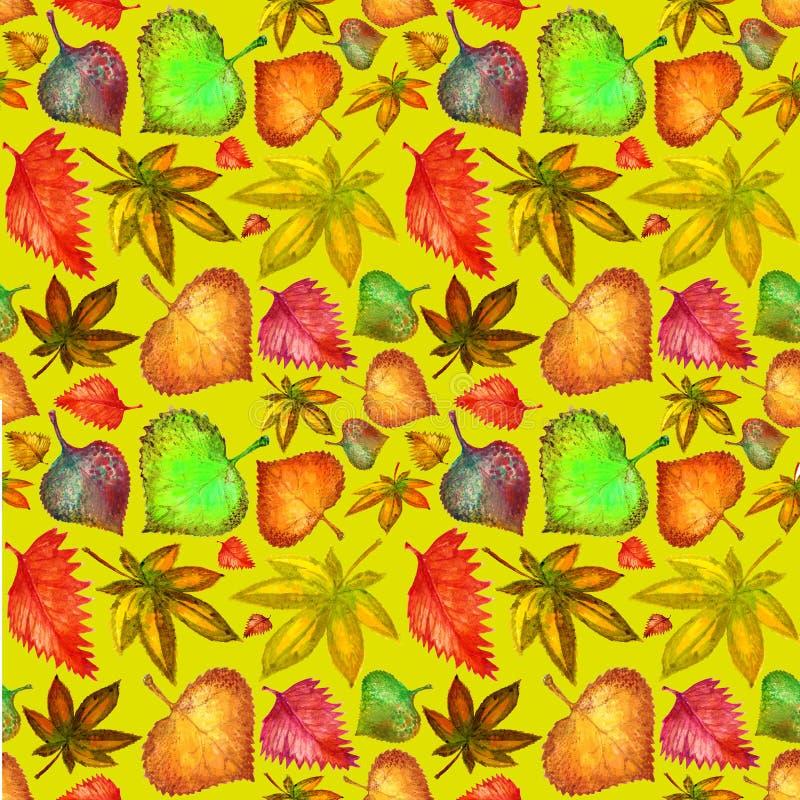 Bezszwowi deseniowi jesień liście na żółtym tle akwarela royalty ilustracja