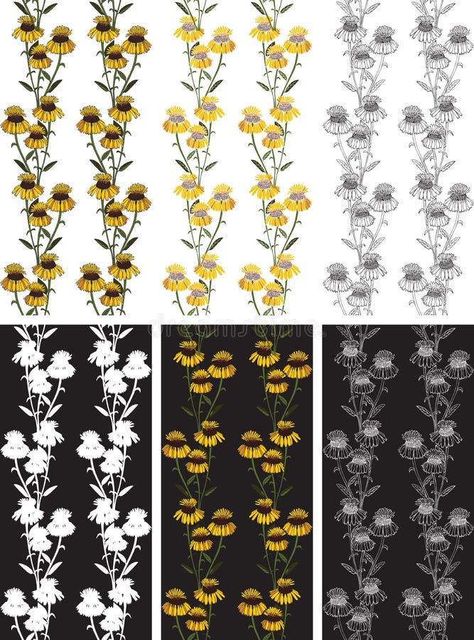 Bezszwowi deseniowi kolorów żółtych kwiaty royalty ilustracja