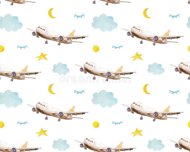 Bezszwowi deseniowi kreskówka samoloty, chmury i gwiazdy, Dziecinny tło Żartuje bezszwowego wzór z samolotami, gwiazdy i ilustracja wektor