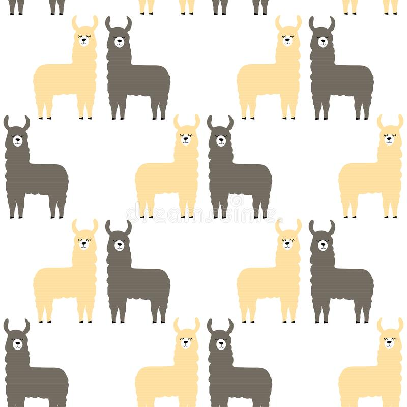 Bezszwowi deseniowi lamas Sztuka może używać dla książka dla dzieci w pepinierze, drukujący ilustracji