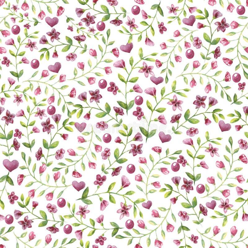 Bezszwowi deseniowi mali menchia kwiaty, liść na białym tle i ilustracji