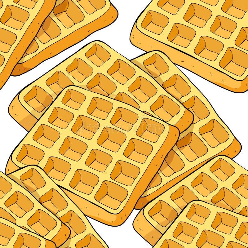 Bezszwowi deseniowi opłatki wiedeńczyka kwadrata piekarni produkt wektor ilustracja wektor