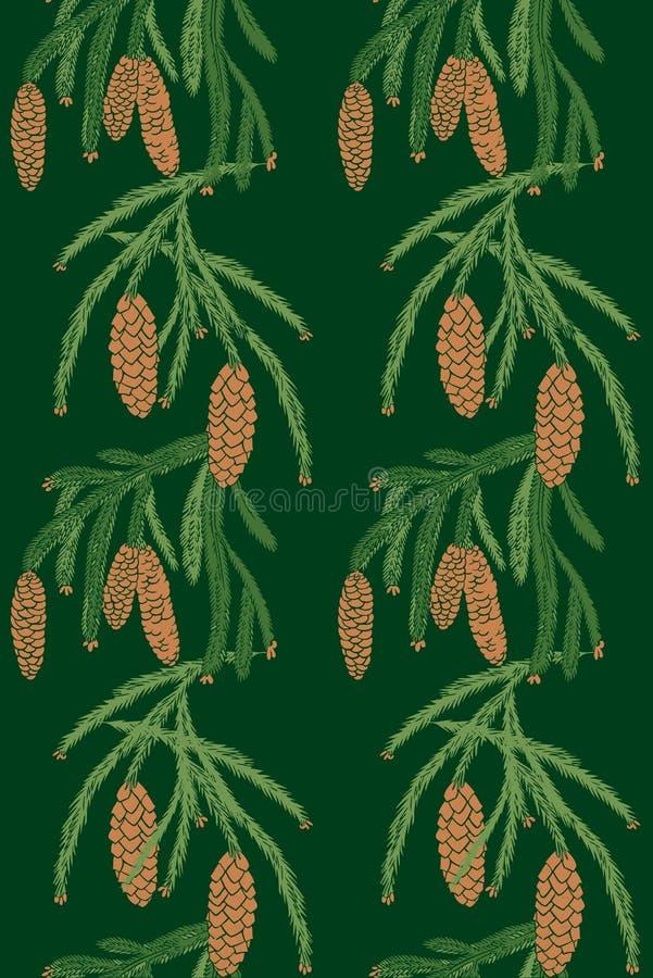 Bezszwowi deseniowi sosna rożki royalty ilustracja