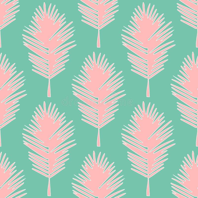Bezszwowi deseniowi tropikalni liście ilustracji